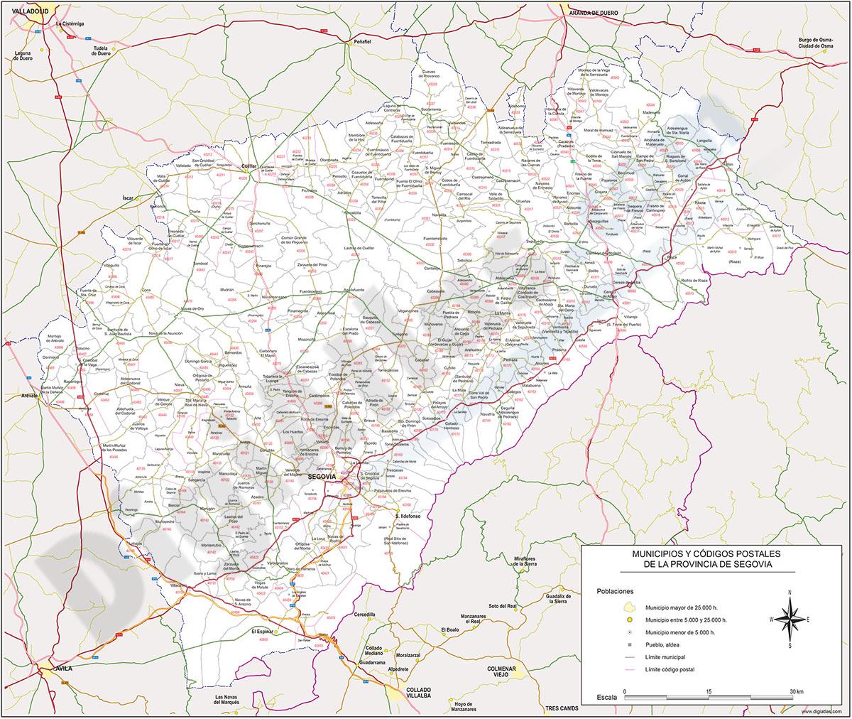 Segovia - mapa provincial con municipios y Códigos Postales