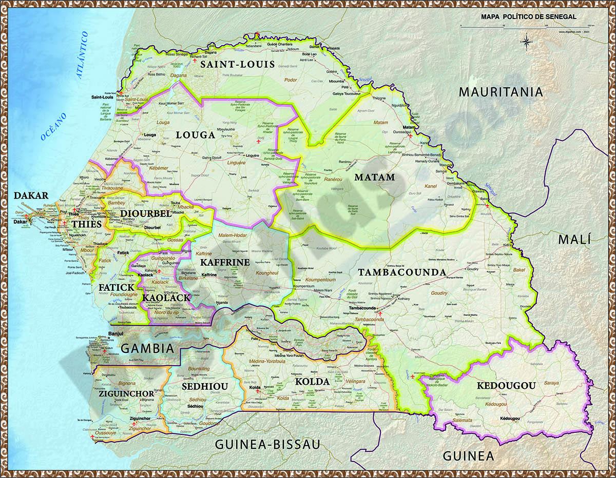 Mapa de Senegal poster