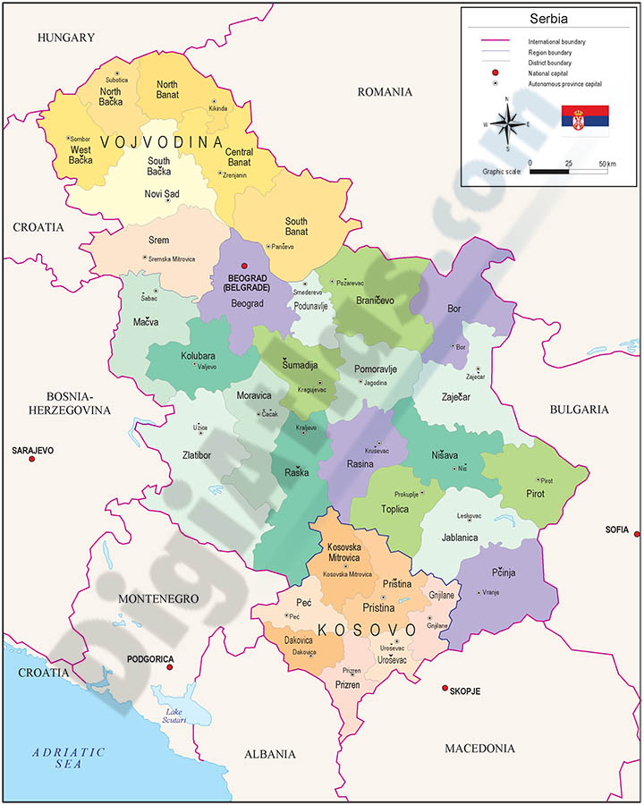 Mapa de Serbia