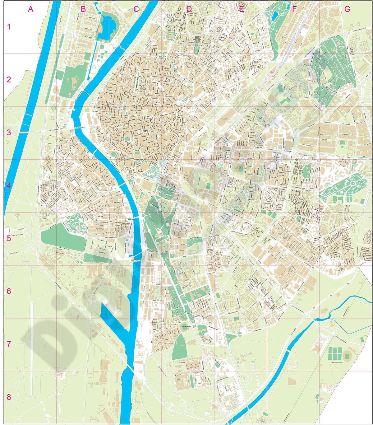 Mapa De Sevilla Capital Callejero.Digiatlas Mapas Y Planos Digitales Mapas De Codigos Postales