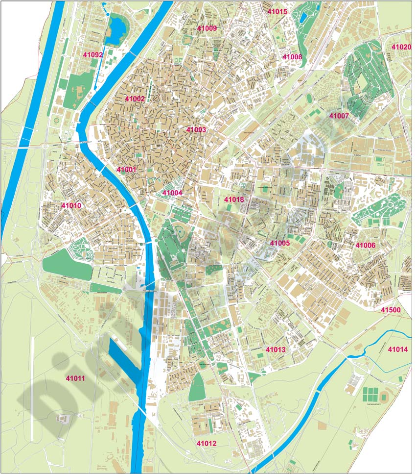 Sevilla City map with postcode areas