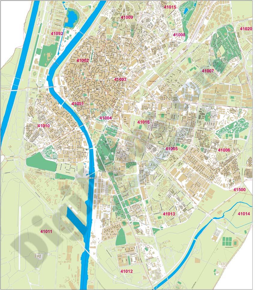 Sevilla - Plano de la ciudad con códigos postales