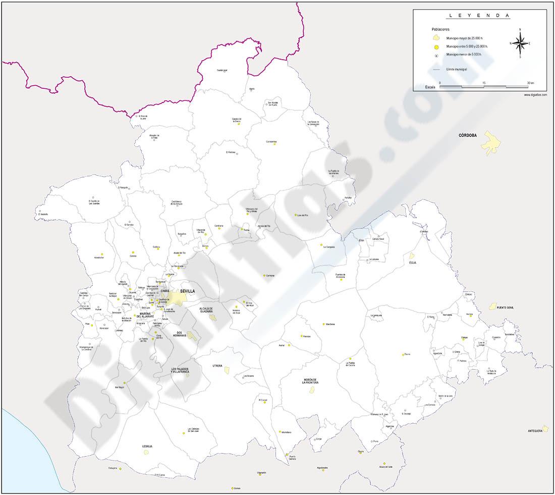 Sevilla province map with municipalities