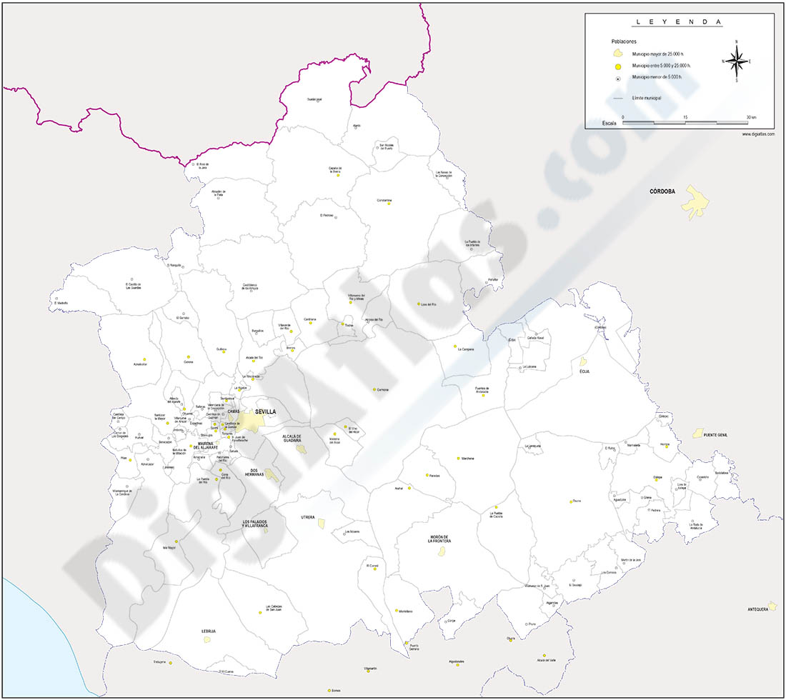 Sevilla - mapa provincial con términos municipales