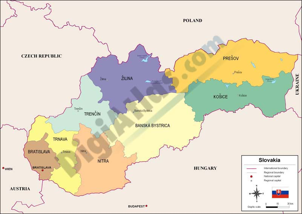 Mapa de Eslovaquia
