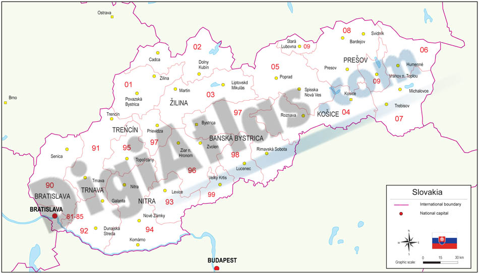 Mapa de Eslovaquia con regiones y codigos postales