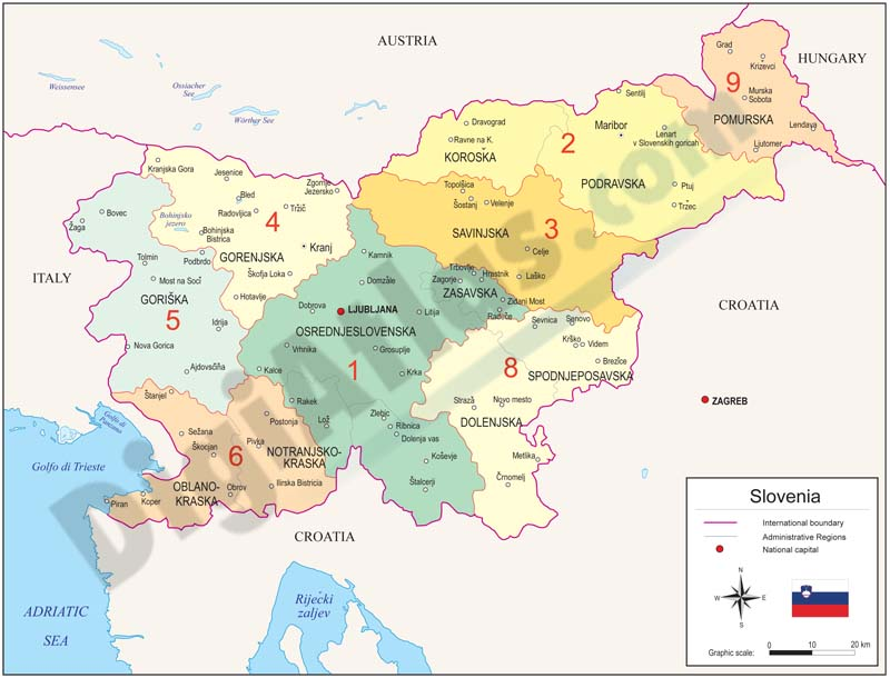 Map of Slovenia with regions and Postal Codes