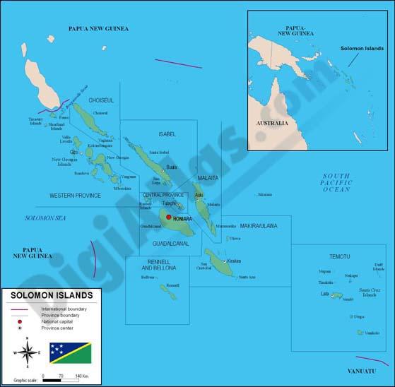 Mapa de Islas Salomón