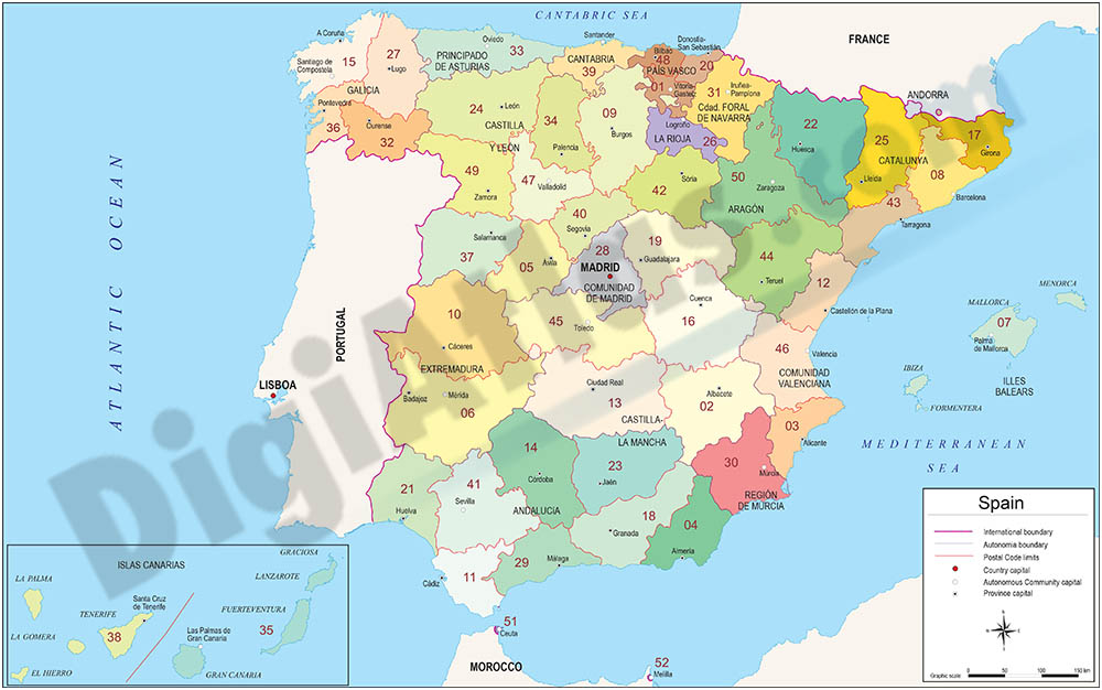 Map of Spain with autonomous communities, provinces and 2-digit postal code