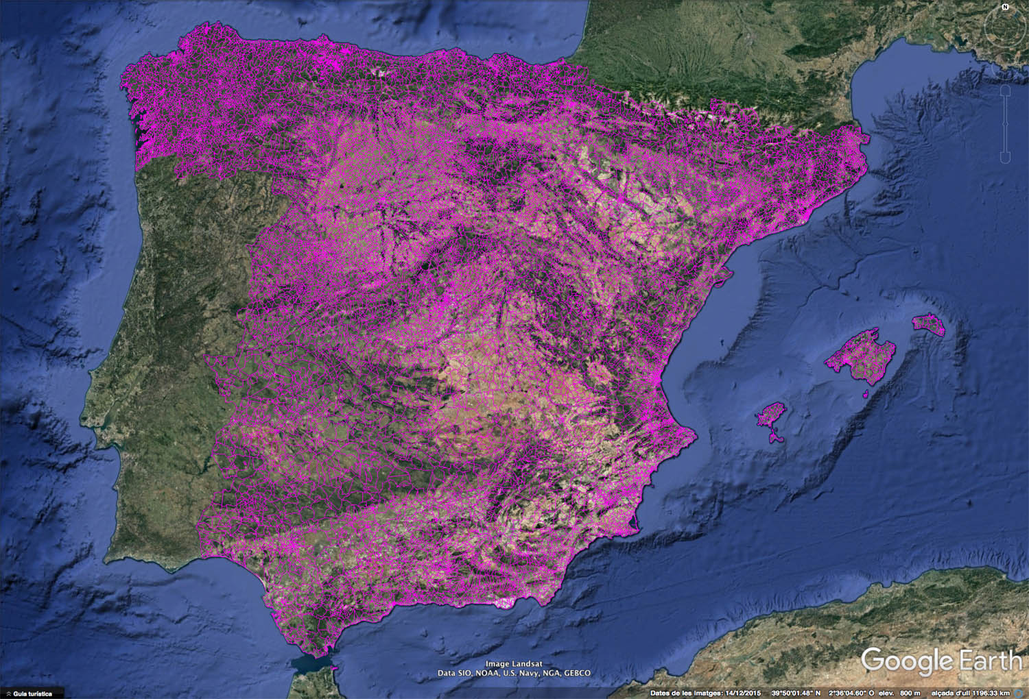 Google Earth Map Of Spain.Map Of Spain With Postal Codes Areas