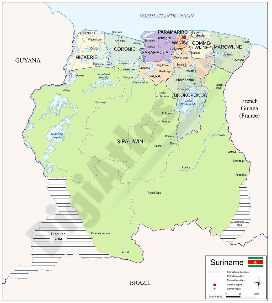 Mapa de Surinam