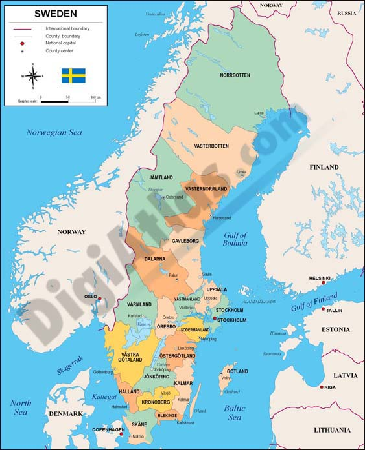 Mapa de Suecia