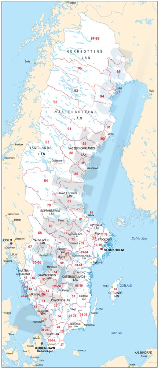 Mapa de Suecia con regiones y codigos postales