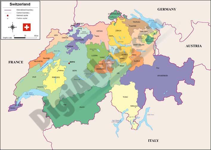 Mapa Politico De Suiza.Mapa De Suiza Online Map
