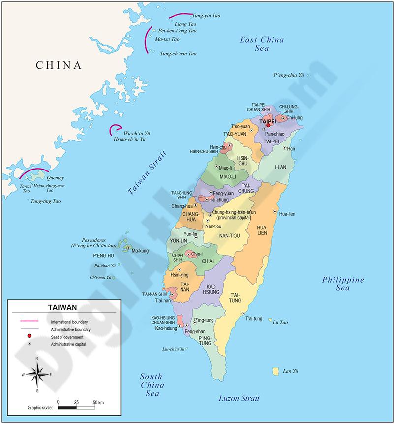 Mapa de Taiwán