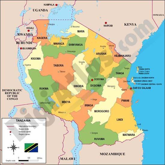 tanzania mapa Map of Tanzania tanzania mapa