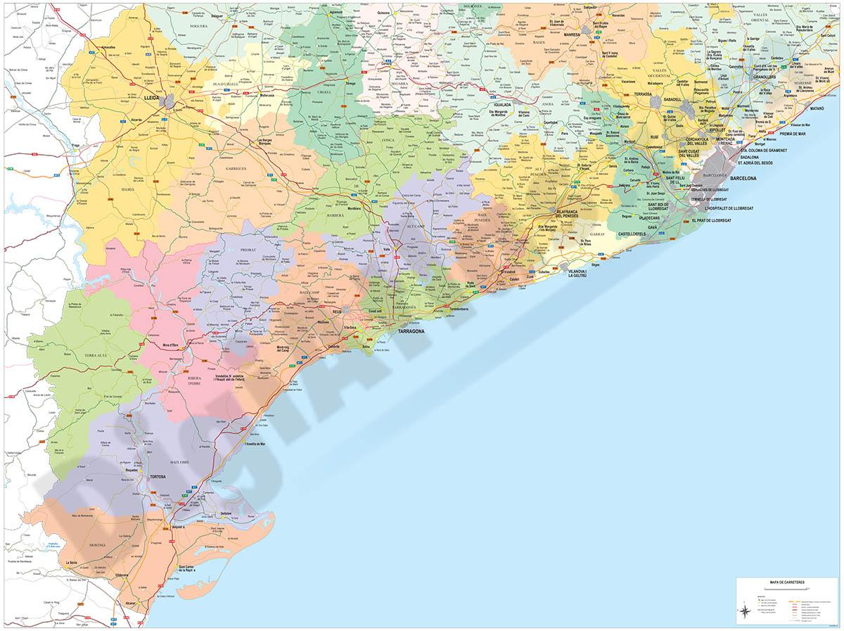 Mapa de carreteras de Tarragona a Barcelona