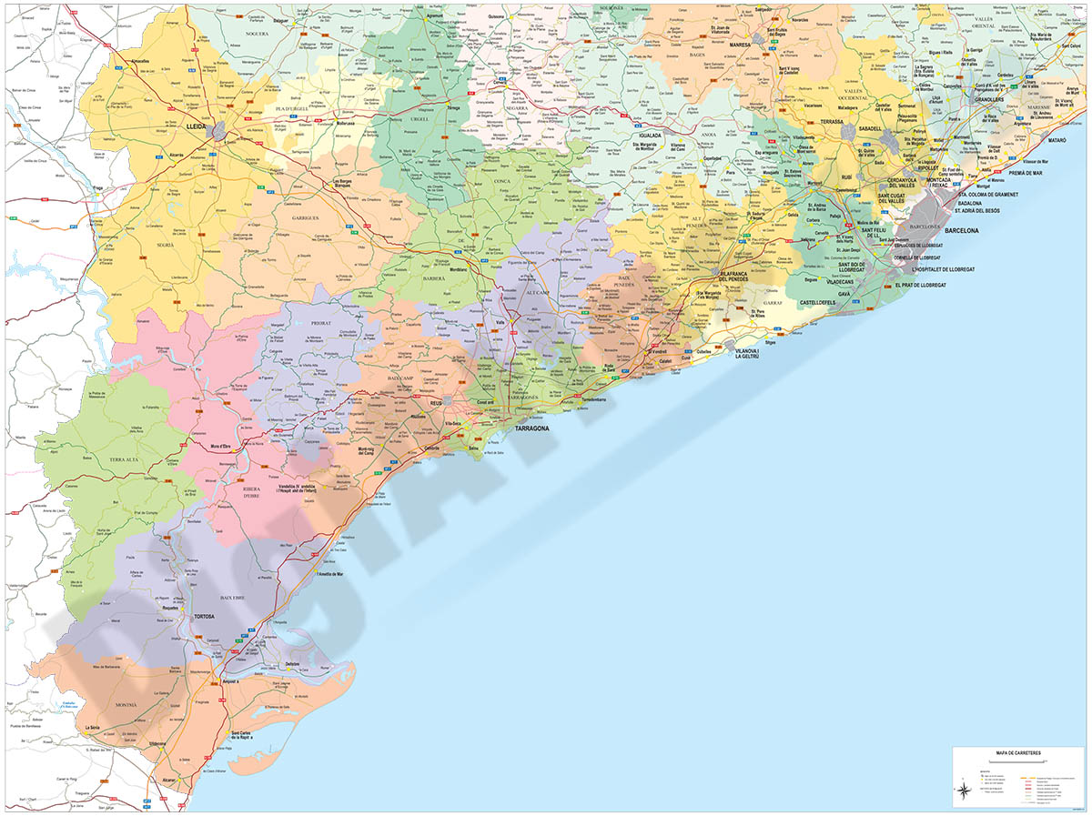 Tarragona to Barcelona road map