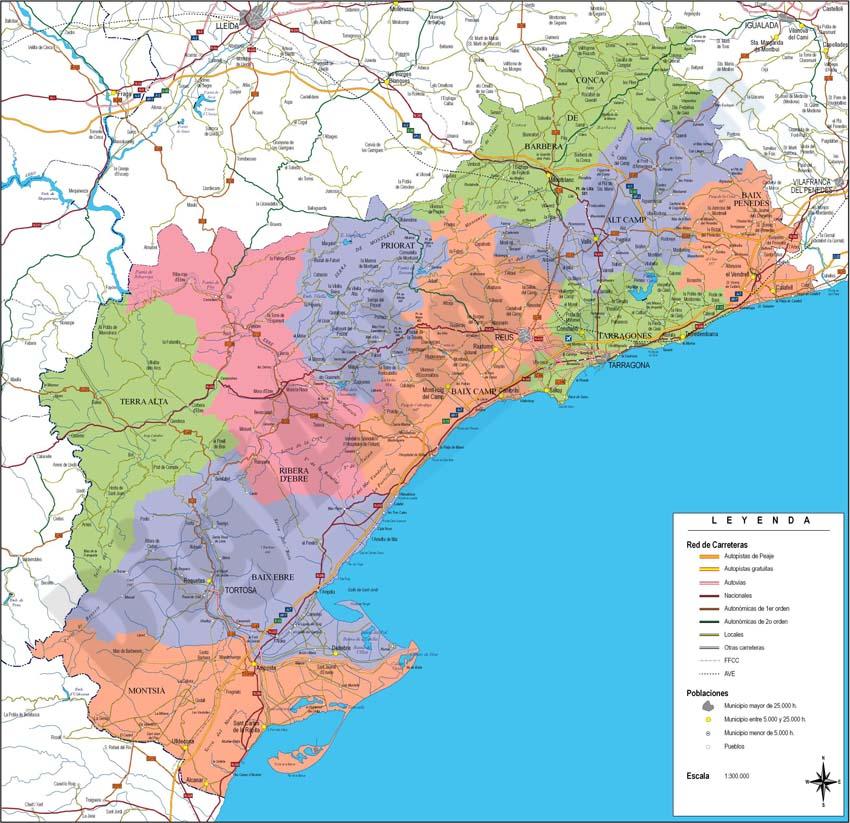 Mapa de la provincia de Tarragona