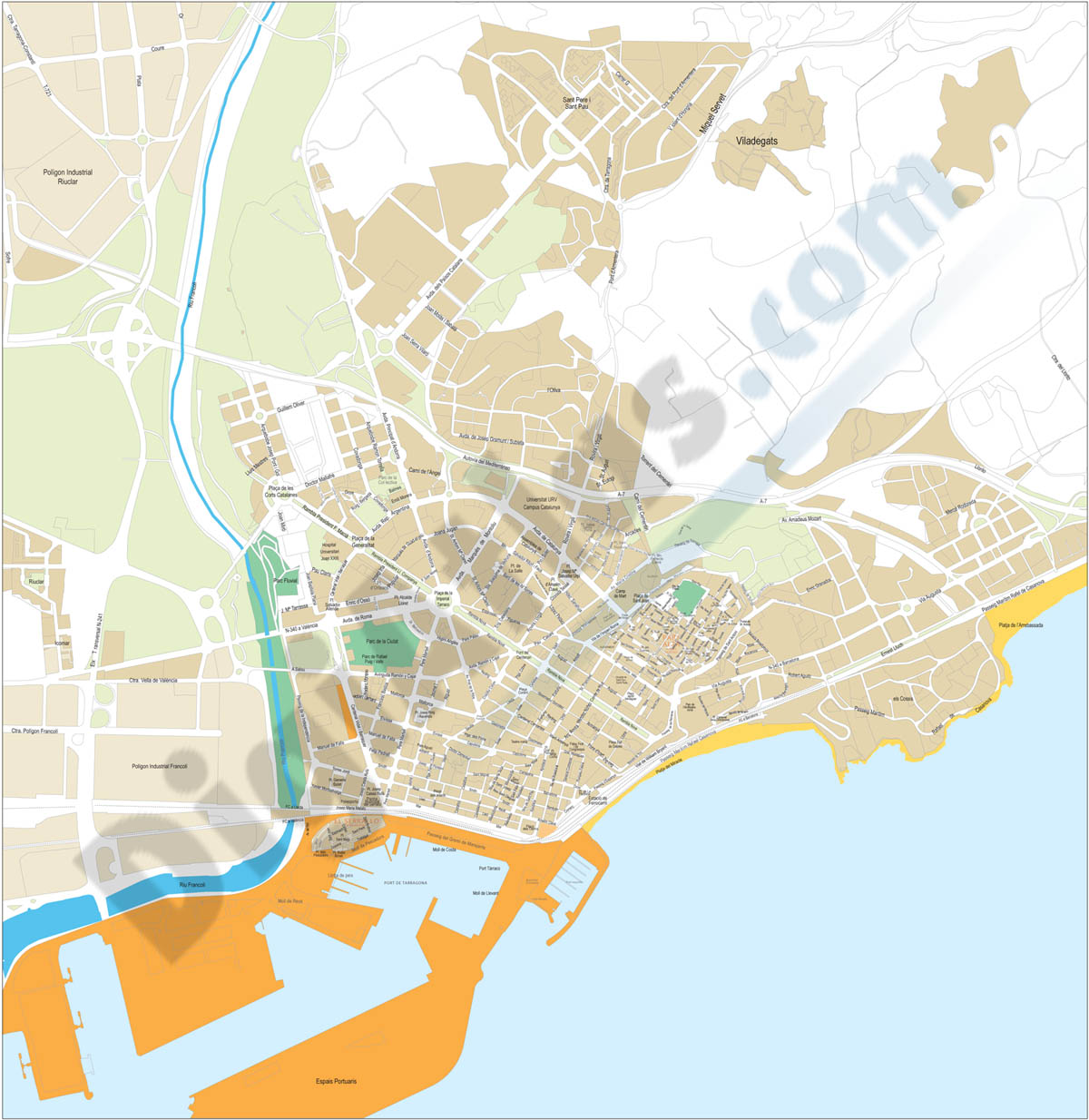 Tarragona - city map of the center