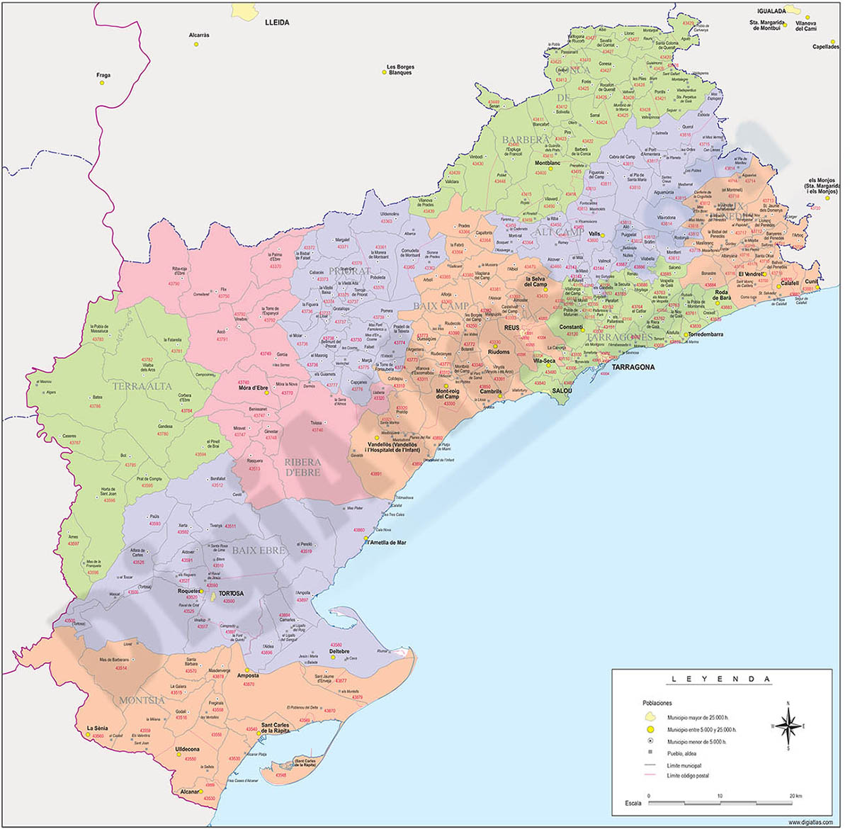 Tarragona - province map with municipalities, comarcas and postal codes