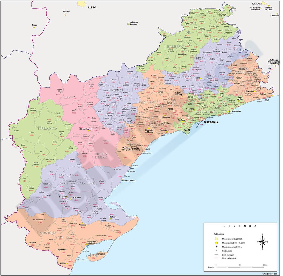 Tarragona - mapa provincial con municipios, comarcas y códigos postales