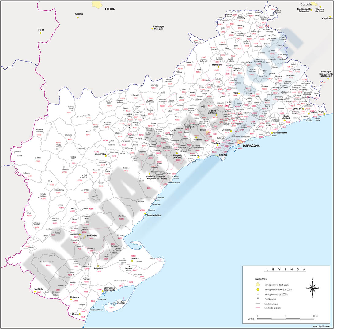 Map of Tarragona province with municipalities and postal codes
