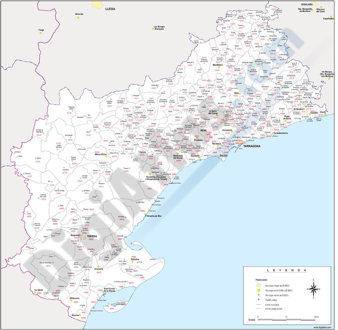 Tarragona - mapa provincial con municipios y Códigos Postales
