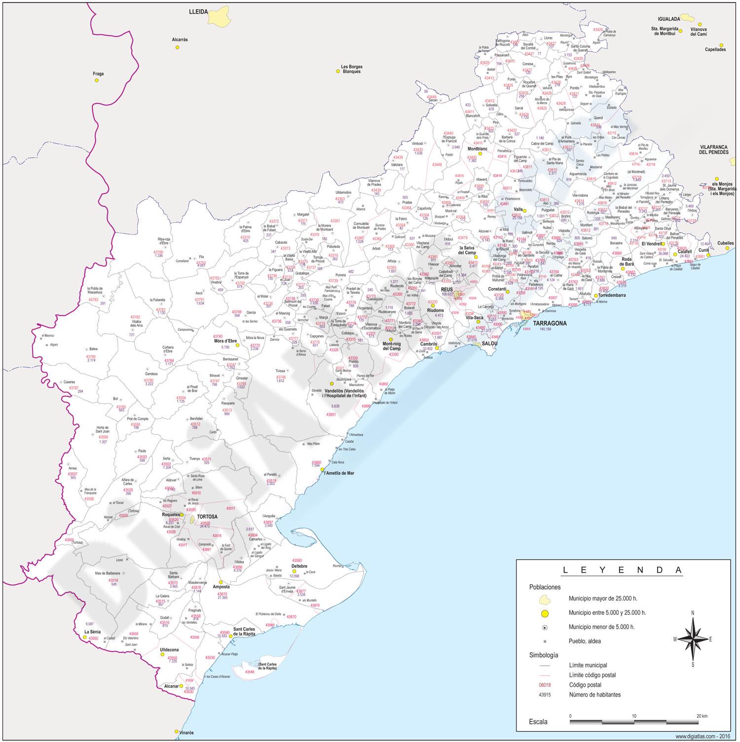 Tarragona - mapa provincial con municipios, códigos postales y habitantes
