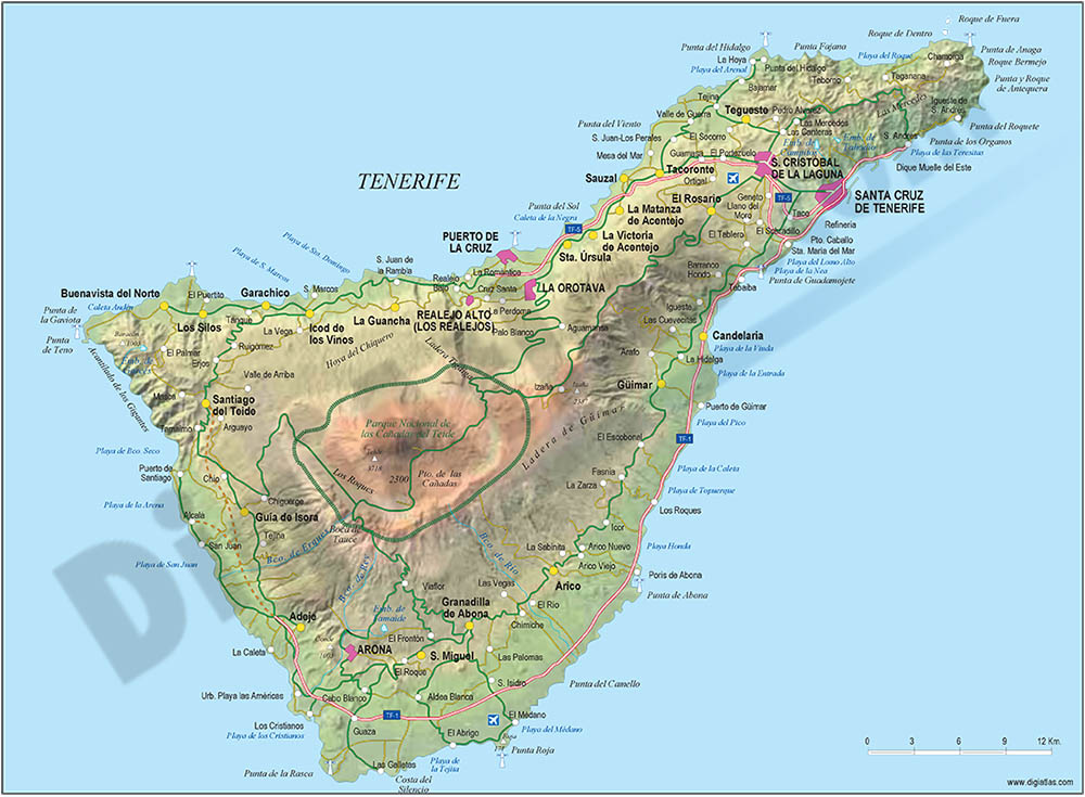 Map of tenerife island (canary islands)