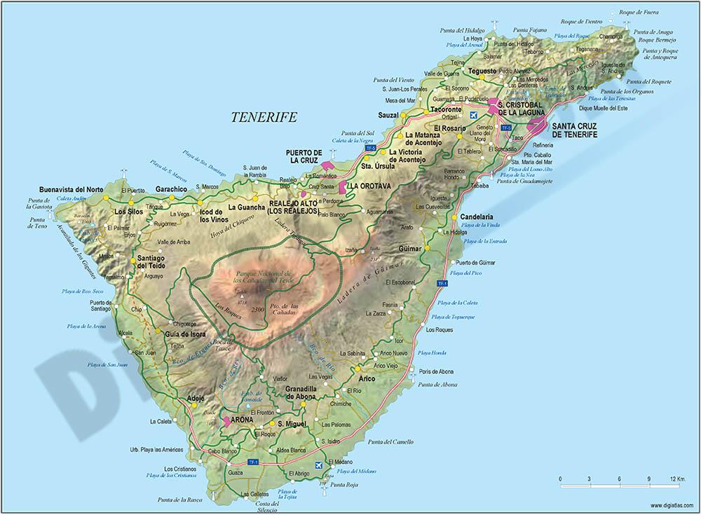Mapa de la Isla de Tenerife