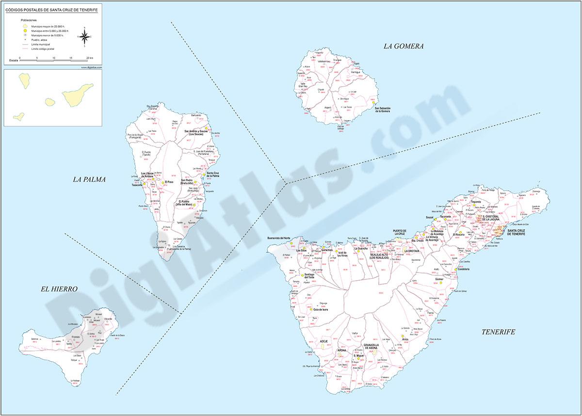 Santa Cruz de Tenerife - mapa provincial con municipios y Códigos Postales