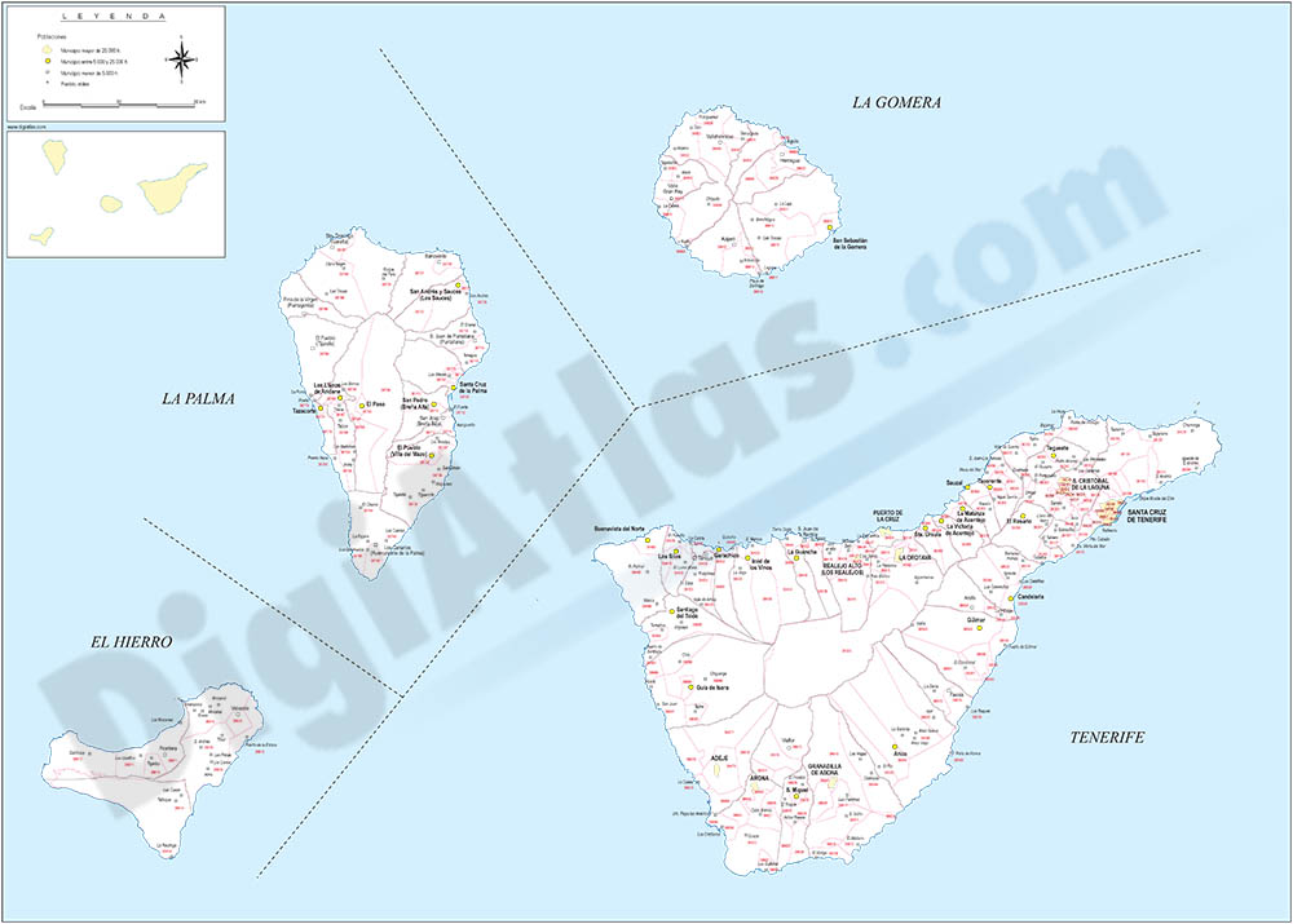 Map of Santa Cruz de Tenerife island with municipalities and postal codes