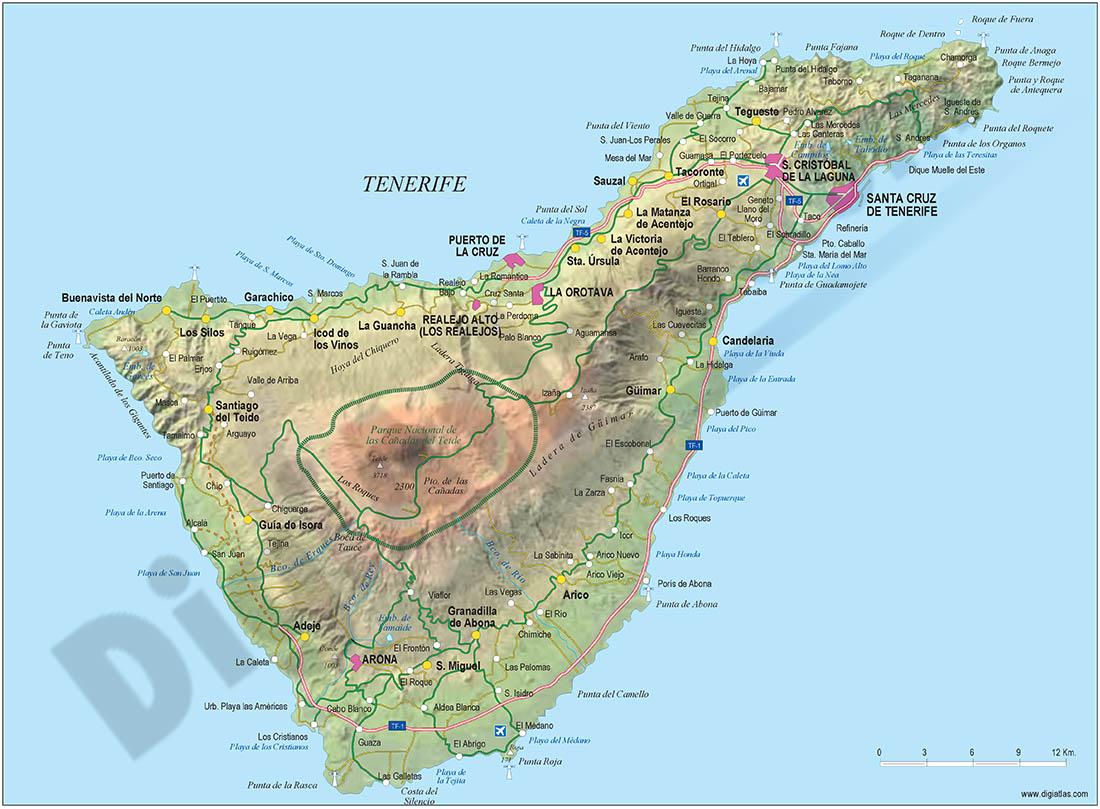 Map of Tenerife island