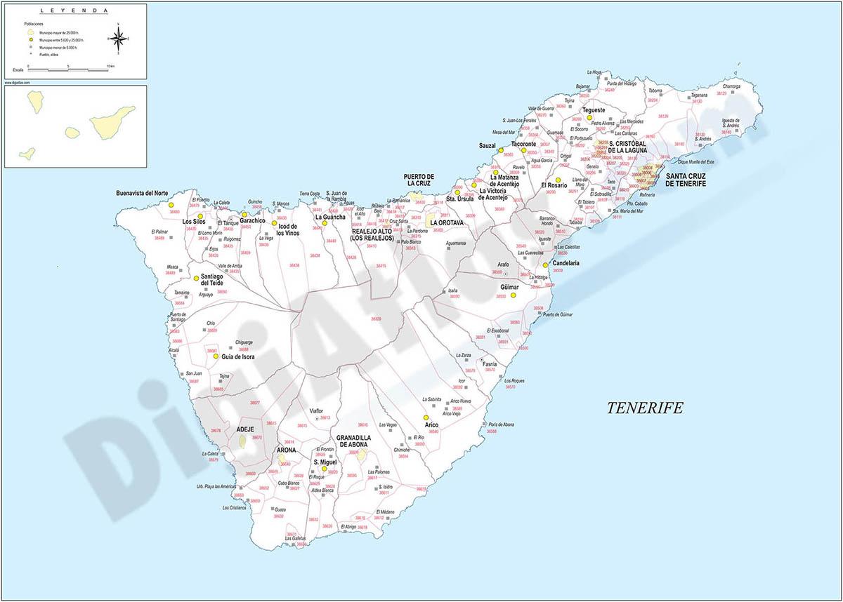 Tenerife - mapa de la isla con municipios y Códigos Postales