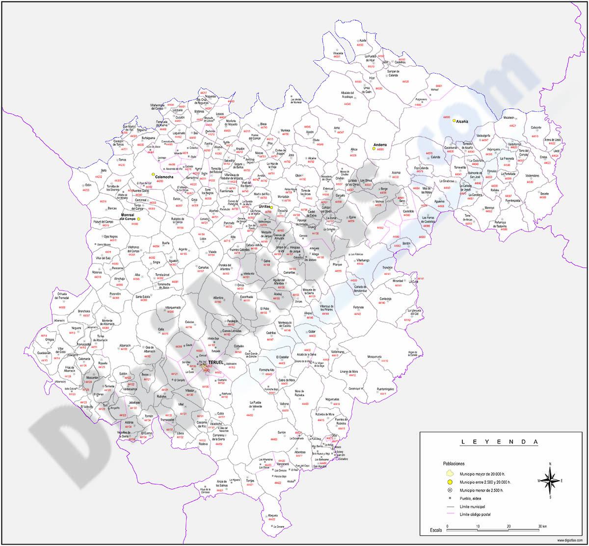 Teruel - mapa provincial con municipios y Códigos Postales