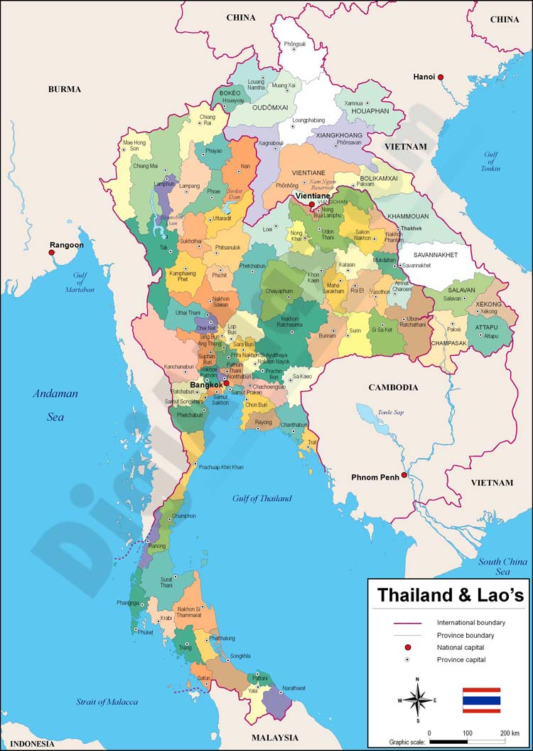 Thailand and Laos map