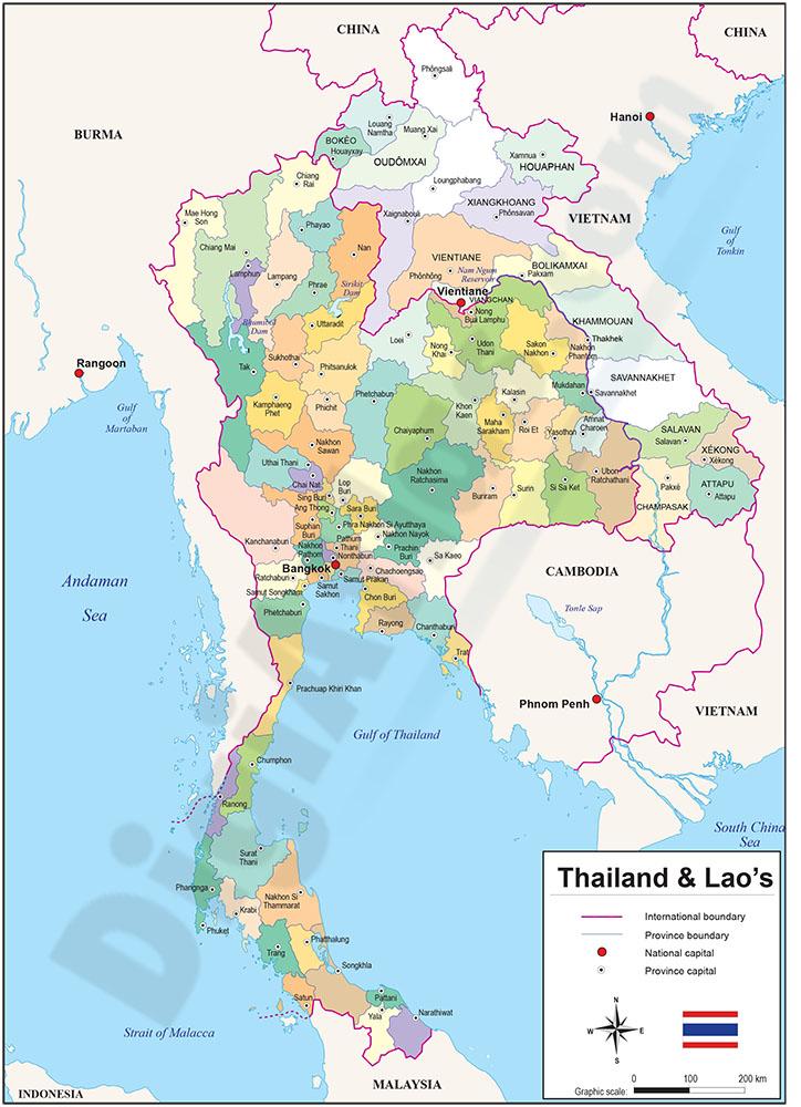 Mapa de Tailandia y Laos