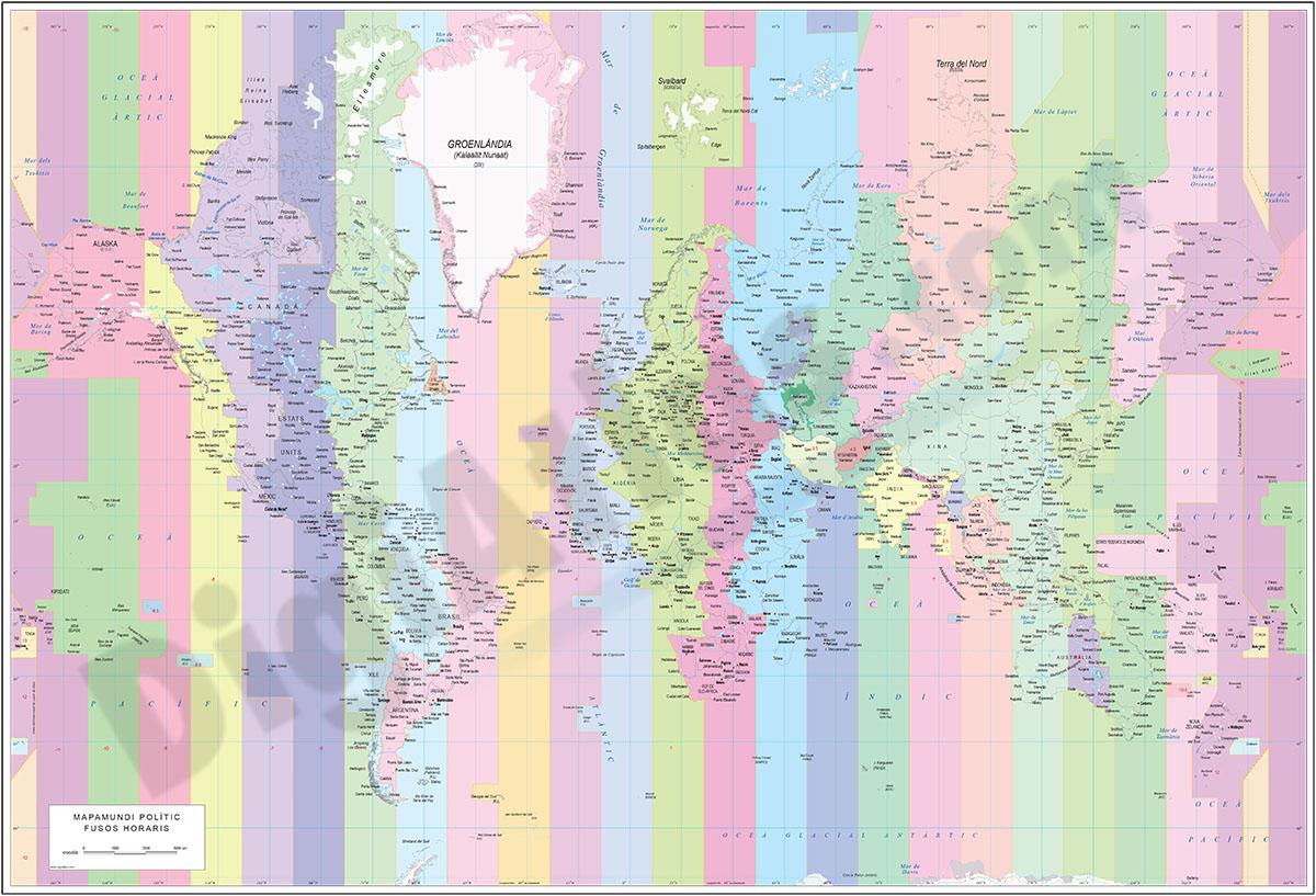 Mapamundi polític amb fusos horaris