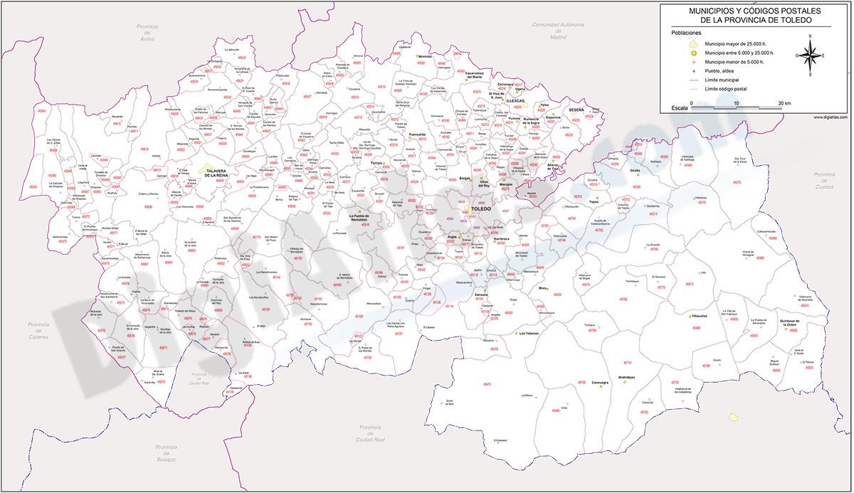 Toledo - mapa provincial con municipios y Códigos Postales
