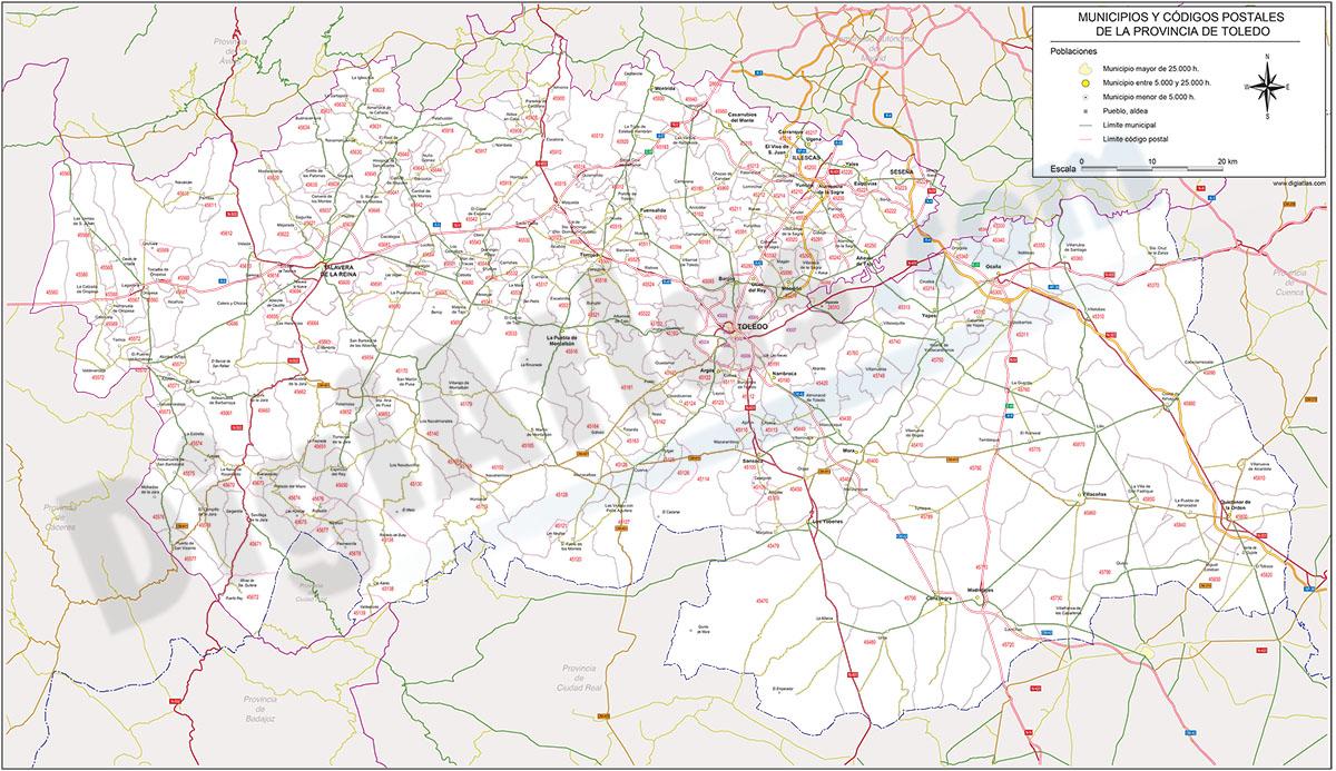 Mapa Provincia Toledo Carreteras.Digiatlas Mapas Y Planos Digitales Mapas De Codigos Postales