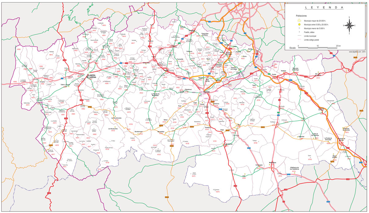 Toledo - mapa provincial con códigos postales y carreteras