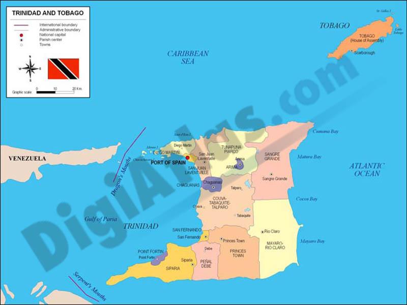 Map of Trinidad and Tobago