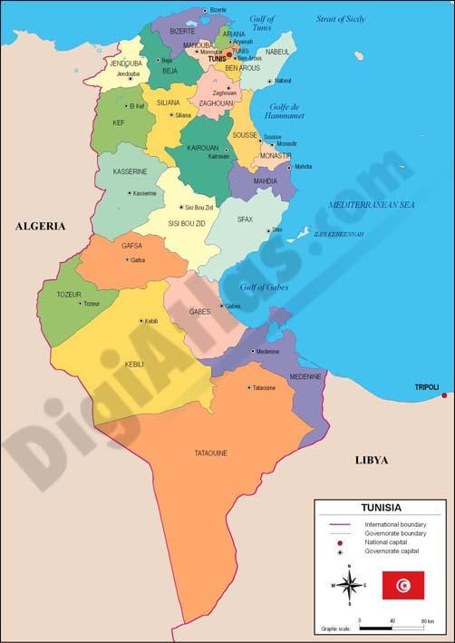 Mapa de Túnez