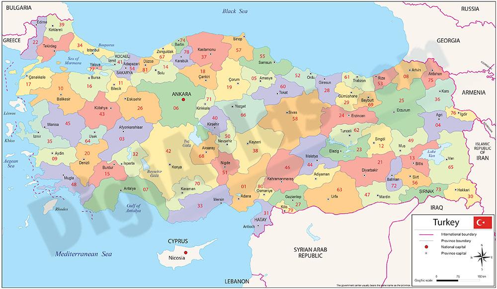 Turquía - Mapa de regiones y codigos postales