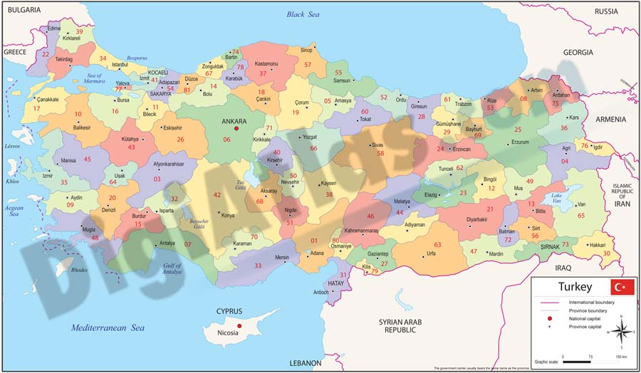 Map of Turkey with regions and Postal Codes