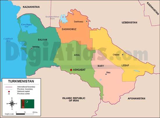 Mapa de Turkmenistán