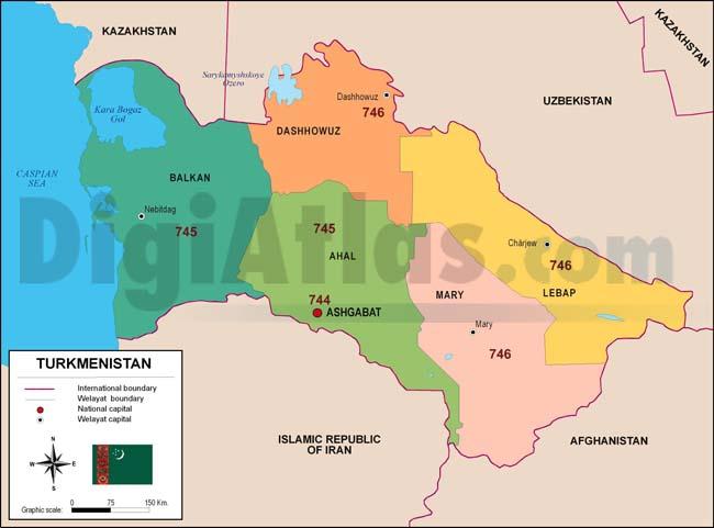 Mapa de Turkmenistán con regiones y codigos postales