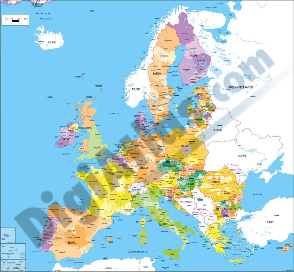 Mapa de las regiones de la Unión Europea
