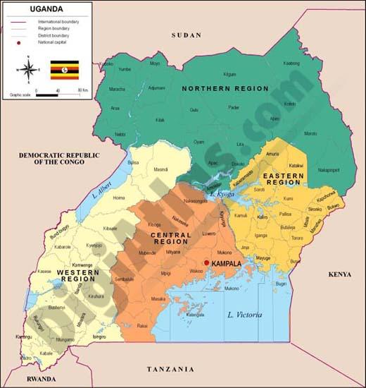 Mapa de Uganda